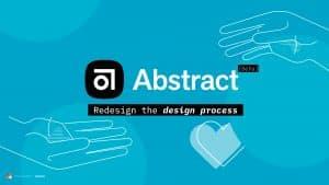 Portada de post con el logotipo de la aplicación Abstract y gráficas en color azul claro.