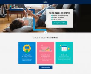 Imagen ejemplo de una Landing Page de BBVA
